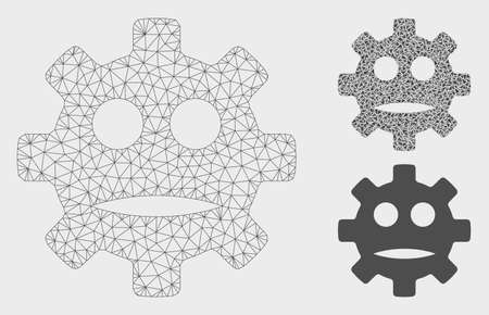 Mesh gear sad smiley model with triangle mosaic icon. Wire frame triangular mesh of gear sad smiley. Vector mosaic of triangles in various sizes, and color shades. Abstract flat mesh gear sad smiley, Vektorgrafik