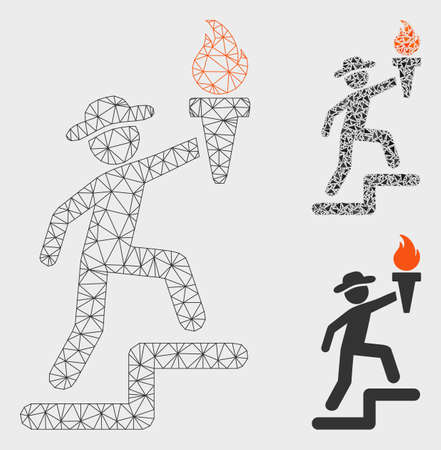 Mesh gentleman climbing with torch model with triangle mosaic icon. Wire frame triangular mesh of gentleman climbing with torch. Vector mosaic of triangle parts in various sizes, and color shades.