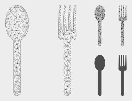 Mesh fork and spoon model with triangle mosaic icon. Wire carcass triangular mesh of fork and spoon. Vector mosaic of triangle parts in variable sizes, and color shades.