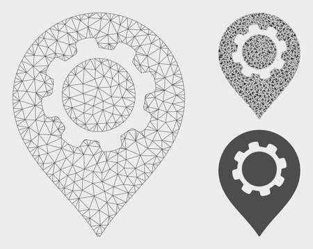 Mesh gear marker model with triangle mosaic icon. Wire frame polygonal mesh of gear marker. Vector mosaic of triangle elements in various sizes, and color tints. Abstract 2d mesh gear marker. Illustration