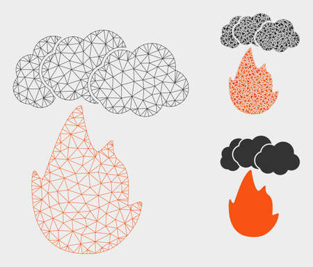 Mesh flame with smoke model with triangle mosaic icon. Wire carcass polygonal mesh of flame with smoke. Vector mosaic of triangle parts in various sizes, and color hues.