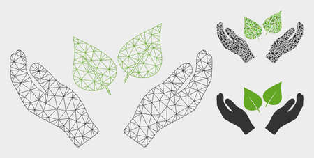 Mesh flora care hands model with triangle mosaic icon. Wire carcass triangular network of flora care hands. Vector mosaic of triangle parts in variable sizes, and color tones.