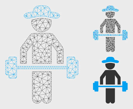 Mesh gentleman power lifting model with triangle mosaic icon. Wire frame triangular mesh of gentleman power lifting. Vector mosaic of triangle parts in various sizes, and color tinges.