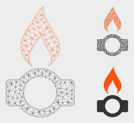 Mesh gas flame model with triangle mosaic icon. Wire frame triangular mesh of gas flame. Vector collage of triangle elements in variable sizes, and color tones. Abstract flat mesh gas flame. Illustration