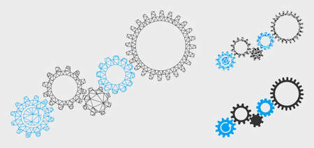 Mesh gear mechanism model with triangle mosaic icon. Wire carcass polygonal mesh of gear mechanism. Vector mosaic of triangle elements in various sizes, and color tones. Illustration