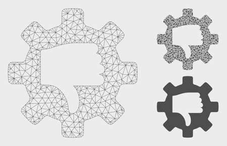 Mesh gear thumb down model with triangle mosaic icon. Wire carcass triangular mesh of gear thumb down. Vector mosaic of triangle elements in different sizes, and color tinges.