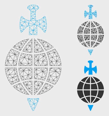 Mesh global guard model with triangle mosaic icon. Wire frame polygonal mesh of global guard. Vector mosaic of triangle elements in variable sizes, and color tones. Abstract 2d mesh global guard.