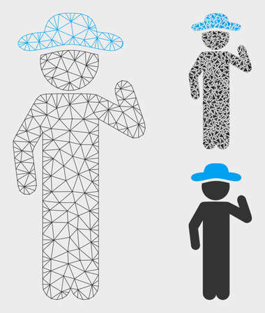 Mesh gentleman opinion model with triangle mosaic icon. Wire frame triangular mesh of gentleman opinion. Vector mosaic of triangle parts in different sizes, and color tinges.