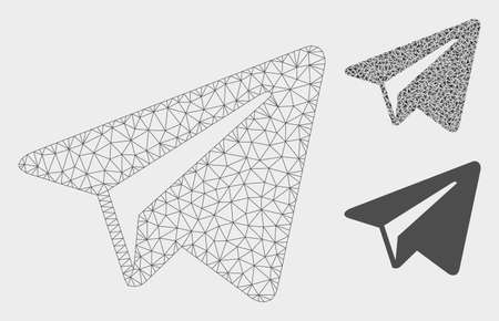 Mesh freelance paper plane model with triangle mosaic icon. Wire frame polygonal mesh of freelance paper plane. Vector mosaic of triangle elements in different sizes, and color tints.