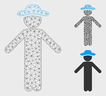 Mesh gentleman apology model with triangle mosaic icon. Wire carcass polygonal network of gentleman apology. Vector mosaic of triangle parts in different sizes, and color shades.