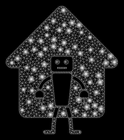 Flare mesh home robot with glitter effect. Abstract illuminated model of home robot icon. Shiny wire frame polygonal mesh home robot. Vector abstraction on a black background.