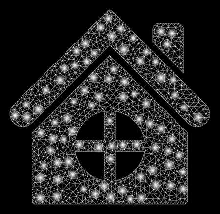 Glossy mesh house building with glitter effect. Abstract illuminated model of house building icon. Shiny wire carcass polygonal mesh house building. Vector abstraction on a black background.