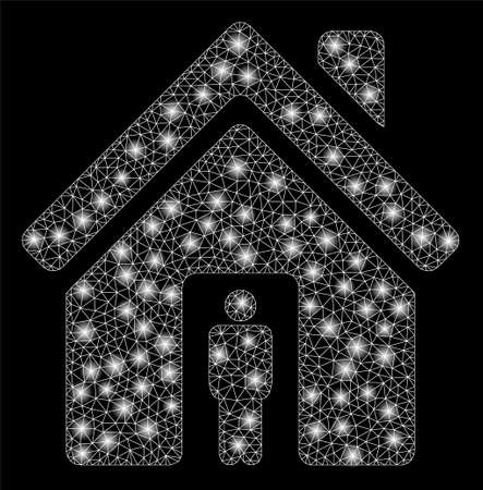 Glowing mesh house owner with glare effect. Abstract illuminated model of house owner icon. Shiny wire frame triangular mesh house owner. Vector abstraction on a black background. Çizim