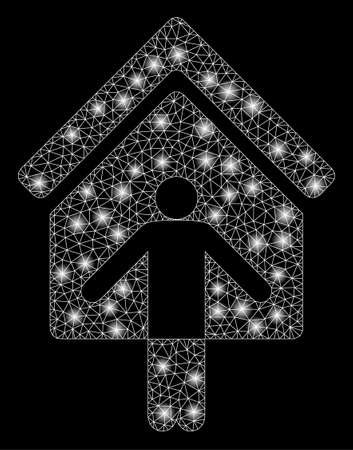 Flare mesh house owner wellcome with glitter effect. Abstract illuminated model of house owner wellcome icon. Shiny wire carcass polygonal mesh house owner wellcome.