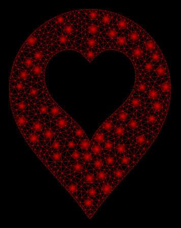 Flare mesh heart casino marker with glow effect. Abstract illuminated model of heart casino marker icon. Shiny wire carcass triangular mesh heart casino marker. Illustration