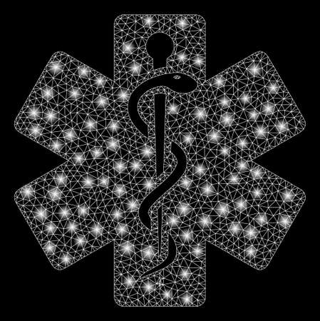 Glowing mesh life star medical emblem with glitter effect. Abstract illuminated model of life star medical emblem icon. Shiny wire frame triangular mesh life star medical emblem.