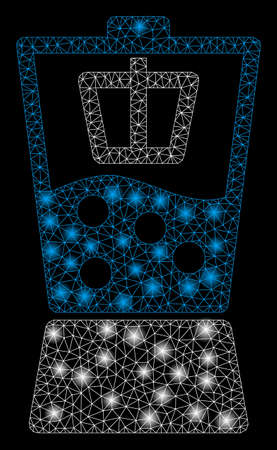 Flare mesh kitchen mixer with glitter effect. Abstract illuminated model of kitchen mixer icon. Shiny wire carcass polygonal mesh kitchen mixer. Vector abstraction on a black background.