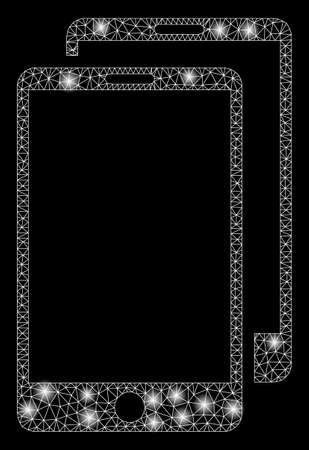 Glowing mesh smartphones with sparkle effect. Abstract illuminated model of smartphones icon. Shiny wire carcass triangular mesh smartphones. Vector abstraction on a black background.