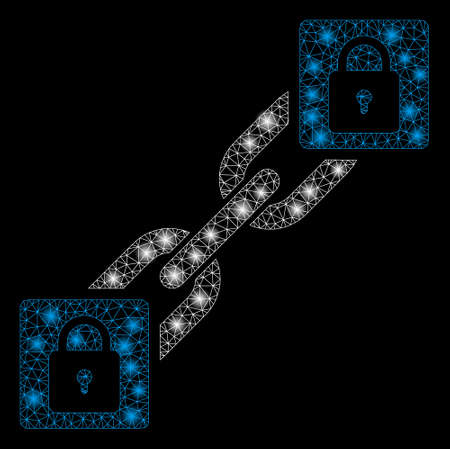 Flare mesh lock blockchain with glare effect. Abstract illuminated model of lock blockchain icon. Shiny wire frame polygonal mesh lock blockchain. Vector abstraction on a black background.