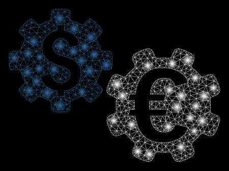 Glossy mesh international financial mechanics with lightspot effect. Abstract illuminated model of international financial mechanics icon. Ilustração