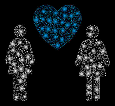 Glowing mesh lesbian love pair with glow effect. Abstract illuminated model of lesbian love pair icon. Shiny wire frame triangular mesh lesbian love pair. Vector abstraction on a black background. Ilustração