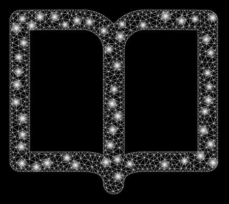Glowing mesh open book with sparkle effect. Abstract illuminated model of open book icon. Shiny wire carcass triangular network open book. Vector abstraction on a black background.