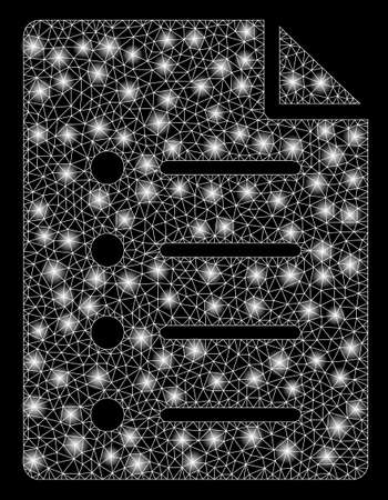 Flare mesh list page with glow effect. Abstract illuminated model of list page icon. Shiny wire carcass polygonal mesh list page. Vector abstraction on a black background.