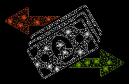 Glowing mesh money exchange with sparkle effect. Abstract illuminated model of money exchange icon. Shiny wire frame triangular mesh money exchange. Vector abstraction on a black background. Ilustração
