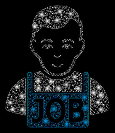 Glossy mesh job with glare effect. Abstract illuminated model of job icon. Shiny wire carcass polygonal mesh job. Vector abstraction on a black background.