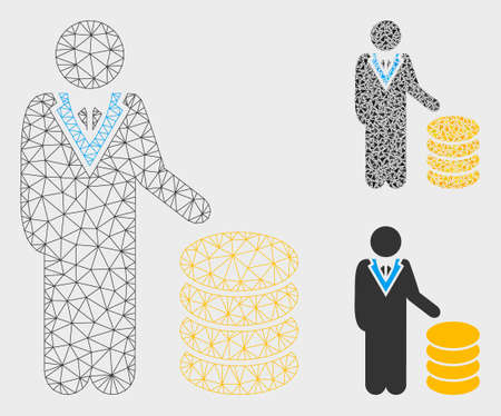 Mesh coins investor model with triangle mosaic icon. Wire carcass triangular mesh of coins investor. Vector mosaic of triangle elements in variable sizes, and color tinges.