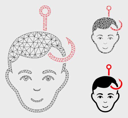 Modèle de tête d'homme accroché en maille avec icône de mosaïque triangulaire. Fil triangulaire en treillis de tête d'homme crochu. Mosaïque vectorielle de pièces triangulaires de tailles variables et de teintes de couleurs.