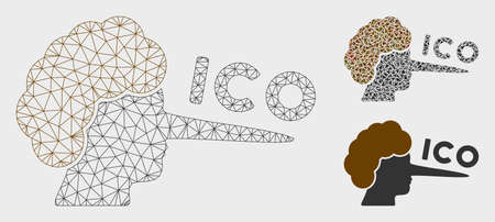 Mesh ICO lier model with triangle mosaic icon. Wire carcass triangular mesh of ICO lier. Vector composition of triangle parts in variable sizes, and color hues. Abstract flat mesh ICO lier,