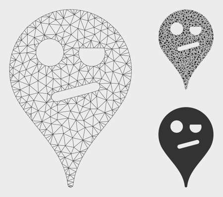 Mesh infidelity smiley map marker model with triangle mosaic icon. Wire frame polygonal network of infidelity smiley map marker. Vector mosaic of triangle elements in different sizes, and color tints.
