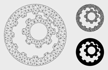 Mesh internal gears model with triangle mosaic icon. Wire frame polygonal mesh of internal gears. Vector mosaic of triangles in various sizes, and color tints. Abstract flat mesh internal gears,