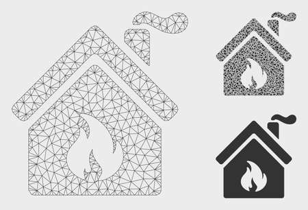 Mesh kitchen fire model with triangle mosaic icon. Wire frame triangular mesh of kitchen fire. Vector composition of triangle parts in various sizes, and color tints. Abstract 2d mesh kitchen fire,