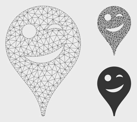 Mesh joke smiley map marker model with triangle mosaic icon. Wire frame triangular mesh of joke smiley map marker. Vector mosaic of triangles in variable sizes, and color tinges.
