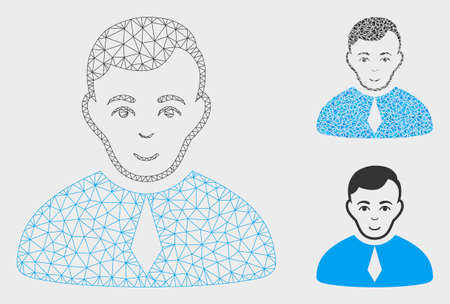 Mesh lawyer model with triangle mosaic icon. Wire frame triangular mesh of lawyer. Vector mosaic of triangle parts in different sizes, and color tints. Abstract 2d mesh lawyer,