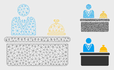Mesh lobby desk model with triangle mosaic icon. Wire carcass triangular mesh of lobby desk. Vector mosaic of triangle elements in variable sizes, and color hues. Abstract 2d mesh lobby desk,