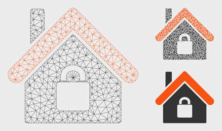 Mesh locked apartment model with triangle mosaic icon. Wire frame polygonal mesh of locked apartment. Vector collage of triangle parts in different sizes, and color hues.