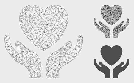 Mesh love heart care hands model with triangle mosaic icon. Wire carcass triangular mesh of love heart care hands. Vector collage of triangle elements in various sizes, and color hues. Vectores