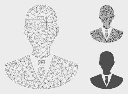 Mesh manager model with triangle mosaic icon. Wire frame triangular mesh of manager. Vector mosaic of triangle elements in various sizes, and color tints. Abstract 2d mesh manager, Ilustração