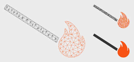 Mesh match fire model with triangle mosaic icon. Wire carcass triangular mesh of match fire. Vector mosaic of triangle parts in various sizes, and color tints. Abstract flat mesh match fire,