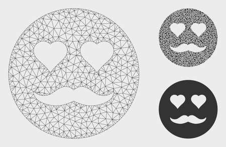 Mesh lover smiley model with triangle mosaic icon. Wire frame triangular mesh of lover smiley. Vector mosaic of triangle parts in different sizes, and color tints. Abstract flat mesh lover smiley, Иллюстрация