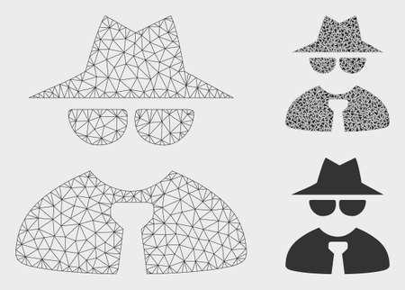 Mesh mafia boss model with triangle mosaic icon. Wire carcass polygonal mesh of mafia boss. Vector mosaic of triangle parts in variable sizes, and color tints. Abstract 2d mesh mafia boss, Illustration