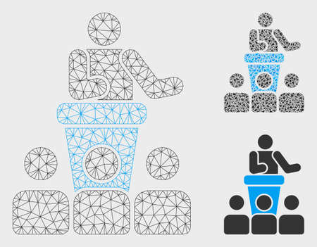 Mesh presentation model with triangle mosaic icon. Wire carcass polygonal mesh of presentation. Vector mosaic of triangles in variable sizes, and color tones. Abstract 2d mesh presentation,