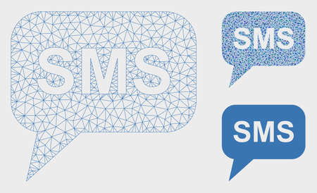 Mesh SMS model with triangle mosaic icon. Wire frame polygonal network of SMS. Vector mosaic of triangle elements in various sizes, and color tints. Abstract 2d mesh SMS,