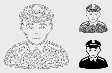 Mesh soldier model with triangle mosaic icon. Wire frame triangular mesh of soldier. Vector mosaic of triangle elements in various sizes, and color tones. Abstract 2d mesh soldier,