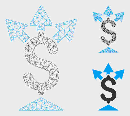 Mesh split payment model with triangle mosaic icon. Wire frame triangular mesh of split payment. Vector composition of triangle elements in variable sizes, and color tinges.