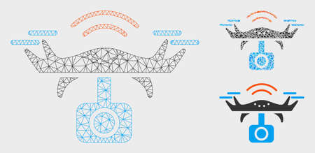 Mesh spy drone model with triangle mosaic icon. Wire carcass polygonal mesh of spy drone. Vector mosaic of triangle parts in various sizes, and color tints. Abstract flat mesh spy drone,