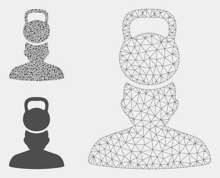 Mesh head weight stress model with triangle mosaic icon. Wire frame triangular mesh of head weight stress. Vector composition of triangle elements in various sizes, and color hues. Illustration